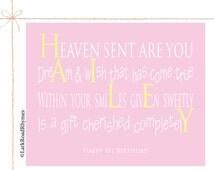1st Birthday Girl First Birthday Keepsake Poem Nursery Decor Baby Girl Gift Personalized Name Print Gift For Niece Granddaughter 8x10 Hailey