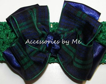 Plaid Bow Headband Modern Clan Scottish Tartan Navy Blue Green Black Watch Blackwatch Ribbon Infant Girl Accessories Holiday Christmas Party