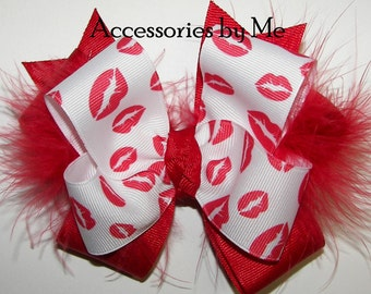 Red Lip Hair Bow, Red Pouty Lips Clip, Kisses Ribbon Marabou Bow Bands, Toddler Girls Pageant Bow Barrette, Frilly Red Kisses Bow Hair Band