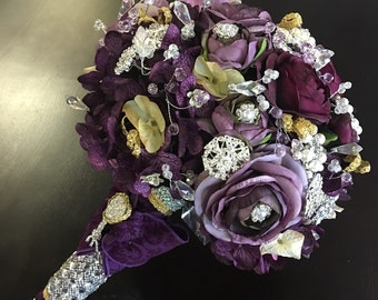 Broach Bouquet - Plum. Rhinestone with soft gold accents