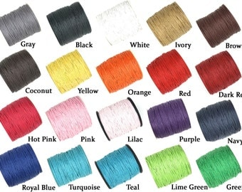 100 Yards 1mm Wax Cotton Cord Macrame String for Jewelry Bracelet - Choose Color