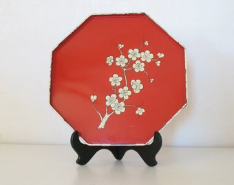 Vintage red laquer ocatgonal tray /  cherry blossom tray / chinoiserie home decor