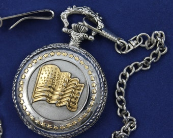American Flag Pocket Watch • Free Shipping!  • Silver Case • Golden Highlights • Working and Ready for Use