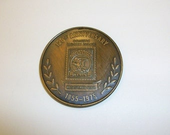 U S Postal Service medal token coin. 120th Anniversary of Registered Mail. 1855 -1975