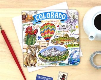 Colorado notecard. Single card or pack of 4.
