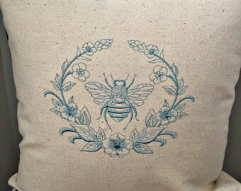 Embroidered Bee Pillow, Pillow Cover, 16x16 pillow cover, Queen Bee, Bee Pillow, French Bee