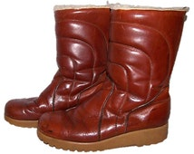Puffer Boots, Vintage 70s Boots, Leather Boots, Winter Boots, Snow Boots, Shearling Boots, Dexter Boots, Men's Size 10 Boots, Grunge Boots