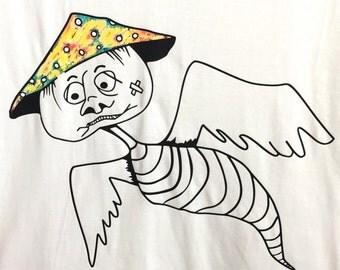 Mushroom bug t shirt, hand painted tee, v neck shirt, funky ladies shirt, size M