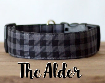 "Grey & Black Lumberjack Mini Buffalo Plaid Dog Collar ""The Alder"""
