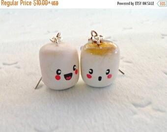 ON SALE Cute Kawaii Marshmallow Earrings.. Choice of Sterling Silver Hooks :)