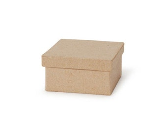 Square Paper Mache Cardboard Box - 4 x 2 Inch - Craft Gift Wrap Packaging Party Supplies