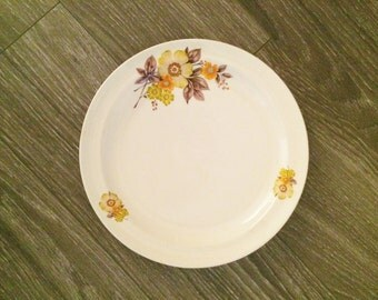 Fall Floral Plate, Thanksgiving Decor, Yellow Brown Plate, Vintage Plate Romania