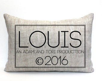 "baby gift, baby pillow, baby shower gift, child's name pillow, personalized pillow, birthday pillow, christmas gift - ""The Louis"""