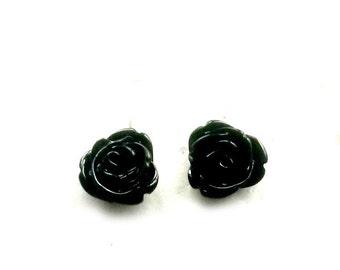 Black Rose Stud Earrings Black Resin post earrings Handmade Gift