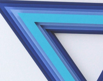 3D layered paper Blue Triangle
