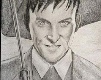 Gotham Penguin original pencil drawing A4 ooak fan-art oswald cobblepot