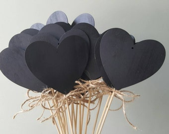 10cm large chalkboard heart with twine weddings parties table numbers or names