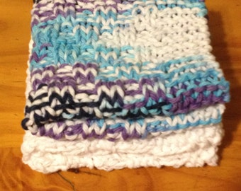 Hand Knitted Dishcloth/Set of two Dishcloths/Washcloth/Handmade Dishcloths/Multi-color