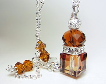 Swarovski Crystal Necklace Swarovski Cube Necklace Topaz Necklace Amber Necklace Sterling Silver Golden Topaz Sunny Necklace Exotic Orange