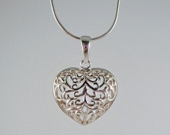 Sterling Silver Filigree Heart Necklace, Sterling Silver Heart Necklace, Sterling Silver Filigree Necklace, Sterling Silver Love Necklace,