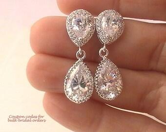 Bridal Earrings Crystal Earrings, Bridal Jewelry, Cubic Zirconia Earrings, Wedding Jewelry for Brides, Dangle Earrings, Drop Earrings