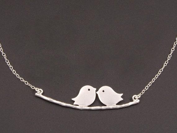 lovebirds necklace 1st anniversary gifts for her 2nd. Black Bedroom Furniture Sets. Home Design Ideas