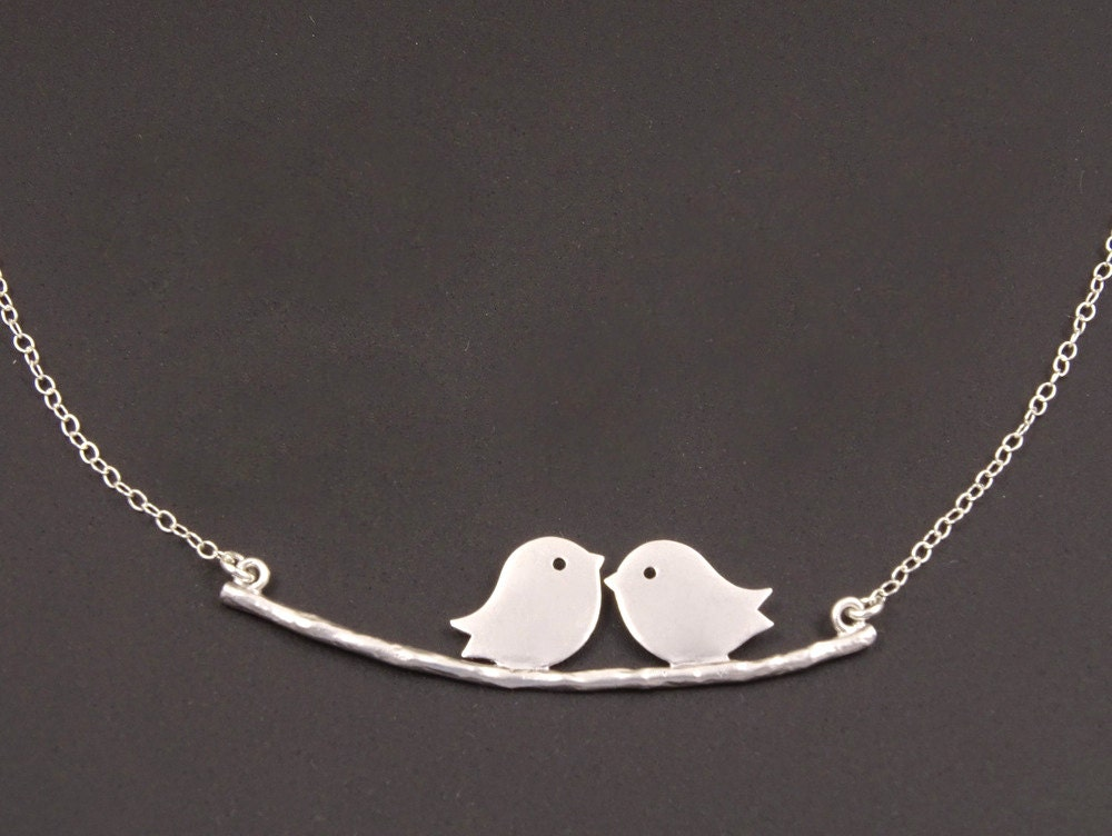 Lovebirds Necklace 1st Anniversary Gifts for Her 2nd
