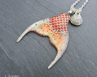 Anceos Mermaid Tail pendant, Silver / Coral Twinkle and Red