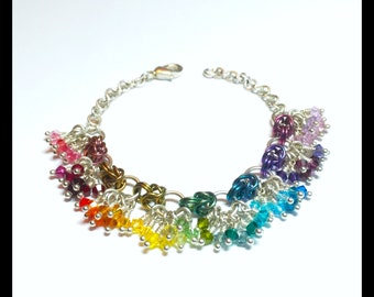 Charity Rainbow Swarovski Crystal Chainmaille Bracelet - Ombre - Gay Pride