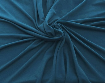 "Bamboo Spandex Fabric Jersey Knit by Yard TEAL 59""W KH129"