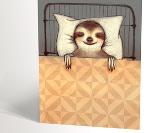 GREETING CARD handmade | get well soon | sleeping in a vintage bed | animal | 4,25'' X 5,5'' | funny birthday card