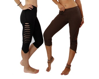 Pixie Leggings- Organic cotton  - Slashes Tights - Black - Goa - Party - Women - Gothic - Cyber - Punk - Cut Out