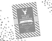 Deer Baby Shower Invitation - Grey and White Stripes - DIY - Printable