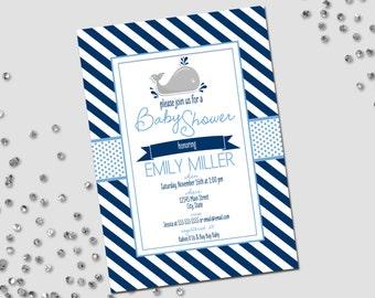 Little Whale Baby Shower Invitation - Little Whale Shower - Blue Stripes - Printable