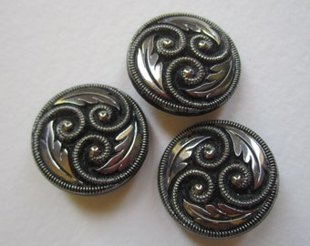 Set of 3 Black and Silver Deco Glass Buttons