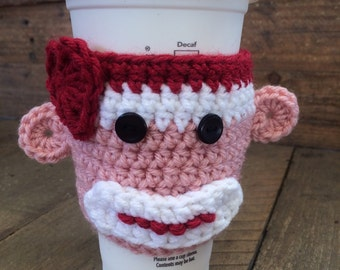 Pink and red sock monkey cup sleeve- Ships same day
