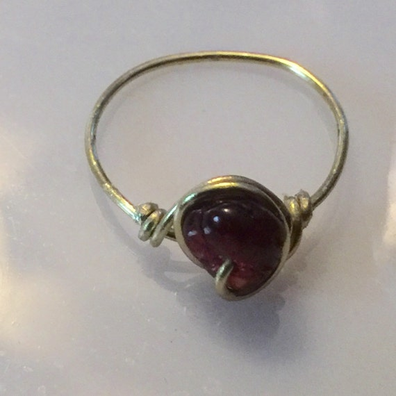 wire wrapped jewelry handmade wire ring garnet ring by