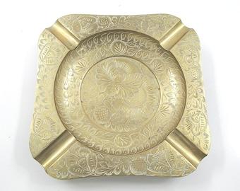 Large Brass Ornate Ashtray