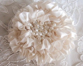 Handmade Ribbon Flower With Rhinestone Pearls  (3.5 inches) In Cream MY-413-04 Ready To Ship