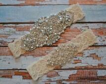 Wedding Garter, Wedding Garter Set, Ivory Crystal Rhinestone and Pearl Bridal Garter Belt, White Vintage Style Bridal Garter Set, R5