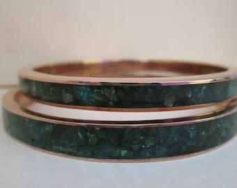Vintage 1970s Boho Malachite Copper Bangles: Size 8