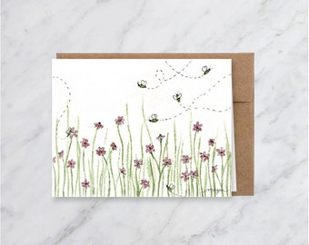 Bees and Flowers Blank Generic Greeting Card- Pink Flowers and Bumble bees