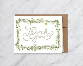 Floral Thank You Blank Greeting / Note Card - Sweet- Feminie - Delicate
