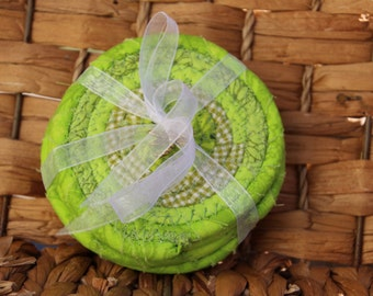 Lime green coiled coasters