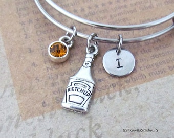 Ketchup Bottle Bangle Personalized Hand Stamped Initial Birthstone Antique Silver Tomato Ketchup Stainless Steel Expandable Bracelet Bangle