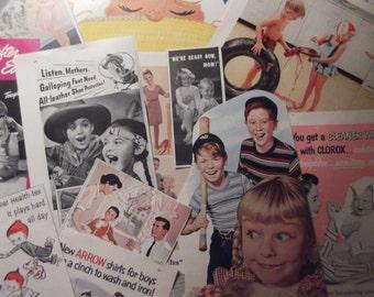CHILDREN ADS BUNDLE Original Vintage Ads Featuring Children For Crafts Collage