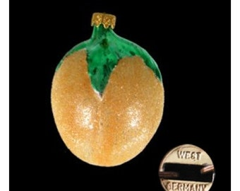 Vintage Glass Yellow Lemon Holiday Ornament - West Germany