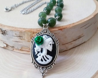 Skeleton cameo necklace - gothic cameo - cameo necklace - cameo jewelry - gothic jewelry - gothic skeleton necklace - halloween cameo