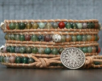 READY TO SHIP skull wrap bracelet- silver skulls and fancy jasper on natural leather- beaded leather 5 wrap bracelet