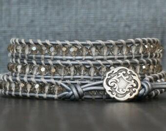 READY TO SHIP wrap bracelet- silver smoke crystal on silver leather- beaded leather 4 wrap bracelet
